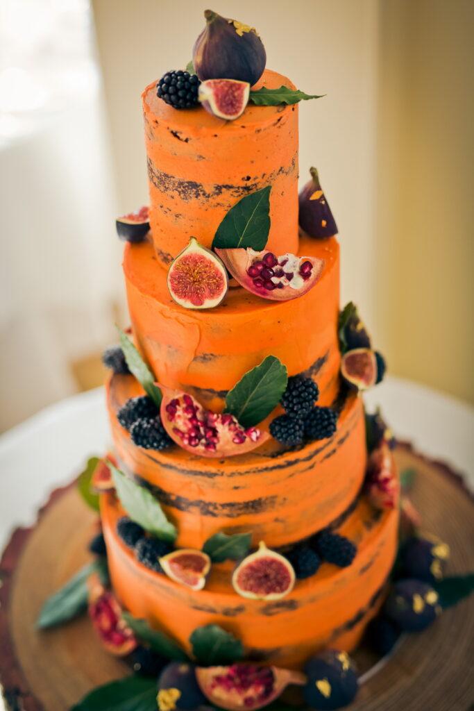 Orange, halloween style wedding cake