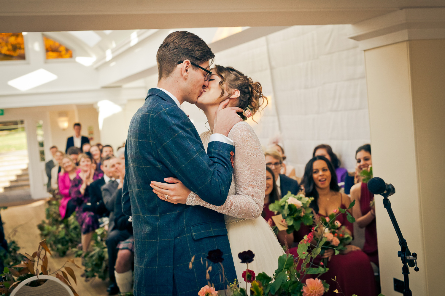 Bride and groom's first kiss in a Richmond wedding