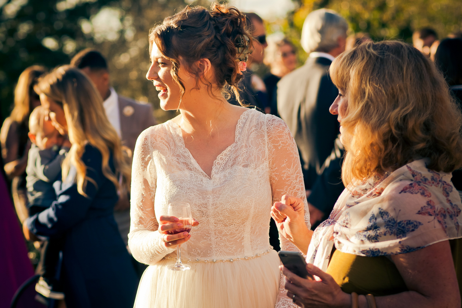 A beautiful bride relaxes after their wedding ceremony